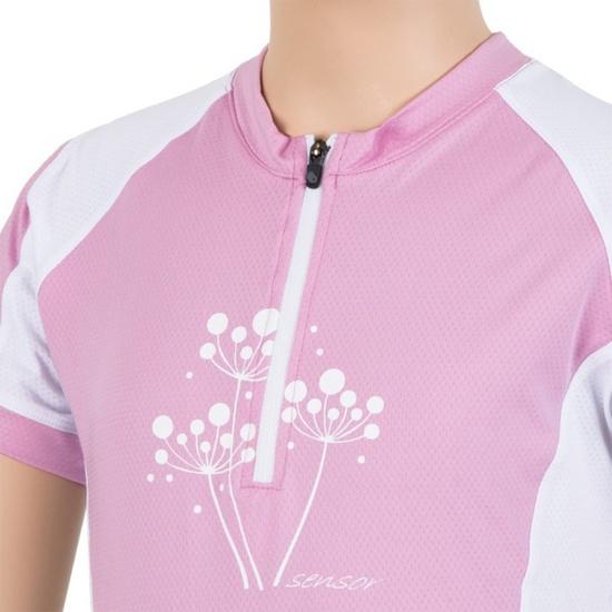 Dětský cyklo dres Sensor CYKLO ENTRY růžová/bílá 15100103