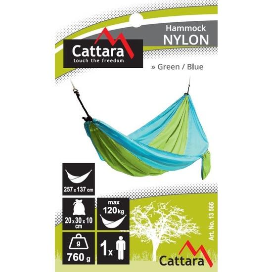 Houpací síť k sezení Cattara NYLON 275x137cm zeleno-modrá