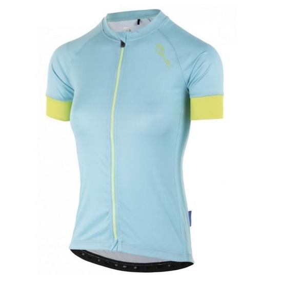 Dámský cyklistický dres Rogelli MODESTA s krátkým rukávem, světle tyrkysovo-žlutý 010.115