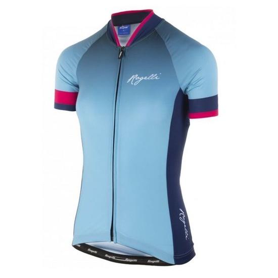Dámský prémiový cyklodres Rogelli FLOW s krátkým rukávem, modro-růžový  010.173
