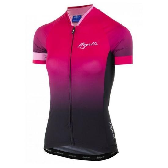 Dámský prémiový cyklodres Rogelli FLOW s krátkým rukávem, růžovo-černý  010.174.