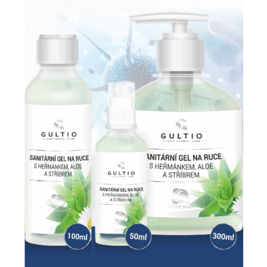 Sanitární gel na ruce Gultio s Aloe, heřmánkem a stříbrem 300 ml