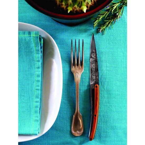 Deejo sada 6 steakových nožů, titanový povrch čepele, olivové dřevo, design