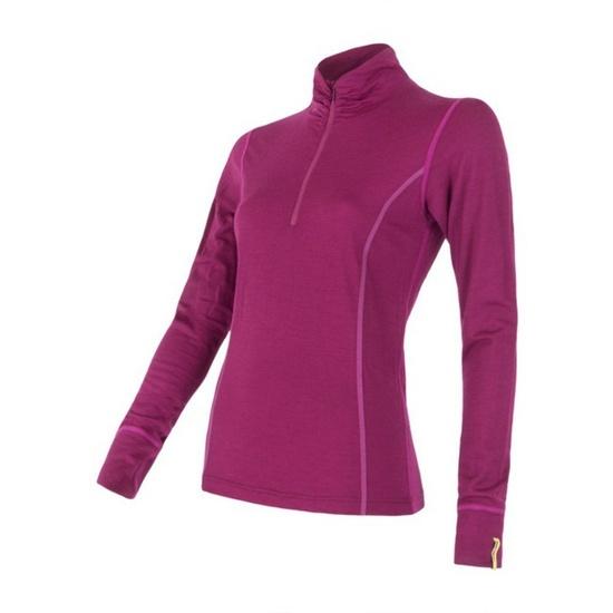 Dámské triko se stojáčkem na zip Sensor Merino Wool Active lila 12110030