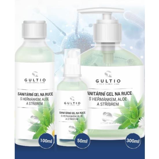 Sanitární gel na ruce Gultio s Aloe, heřmánkem a stříbrem 50 ml
