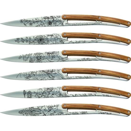 Deejo sada 6 stealpvácj nožů, lesklý povrch, olivové dřevo, design