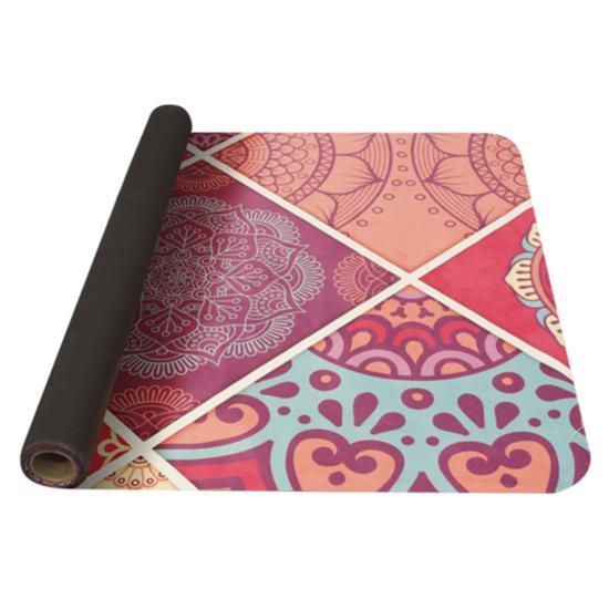 Podložka na jogu YATE yoga mat vzor A/růžová/přírodní guma