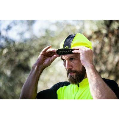 Cyklistická kšiltovka pod helmu Rogelli RETRO, reflexně žluto-černá 009.967, Rogelli