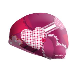 Dětská plavecká čepice Spokey STYLO Junior růžová srdce, Spokey