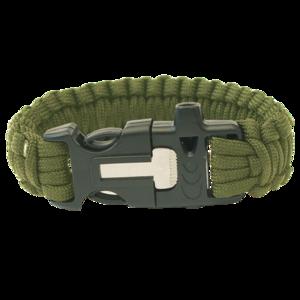 Náramek HIGHLANDER Paracord trojzubec/píšťalka/křesadlo/olivový