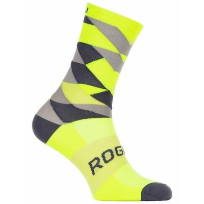 Designové funkční ponožky Rogelli SCALE 14, reflexně žluté-černo-šedé 007.152, Rogelli