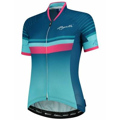 Extralehký dámský cyklodres Rogelli IMPRESS s krátkým rukávem, modro-růžový 010.160