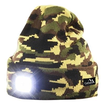 Čepice ARMY s LED svítilnou Cattara USB nabíjení