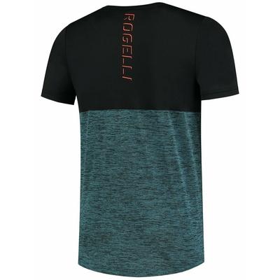 Pánské sportovní tričko Rogelli ESSENCE s krátkým rukávem, černo-tyrkysové 830.246, Rogelli