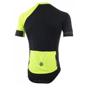 Cyklistický dres RogelliCONTENTO z hladkého materiálu, černo-reflexní žlutý 001.083., Rogelli