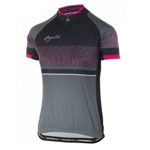 Volnější dámský cyklistický dres Rogelli BELLA s krátkým rukávem, šedo-černo-růžový 010.159, Rogelli
