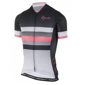 Nejprodyšnější dámský cyklodres Rogelli DOT- s krátkým rukávem, šedo-černo-růžový 010.176., Rogelli