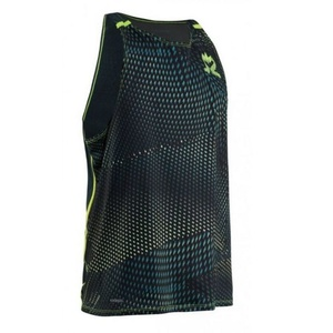 Pánské triko Salming Breeze Tank Men Sharp Lime AOP/Deep Teal Melange, Salming