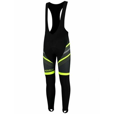 Silně hřejivé cyklistické kalhoty Rogelli TEAM 2.0 s gelovou výstelkou, černo-reflexní žluté 002.970