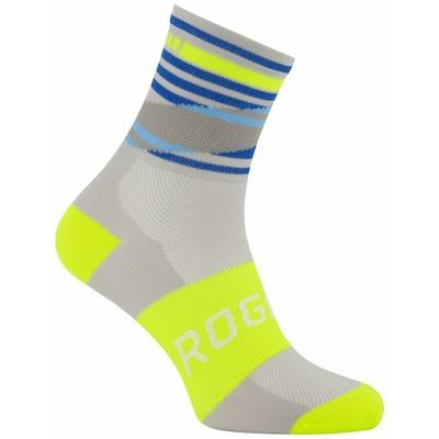 Designové funkční ponožky Rogelli STRIPE, šedo-modro-reflexní žluté 007.204, Rogelli