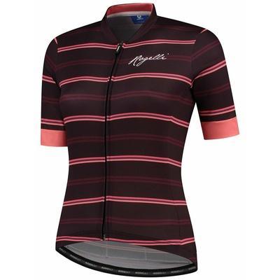 Dámský cyklistický dres Rogelli STRIPE s krátkým rukávem, vínovo-korálový 010.149, Rogelli