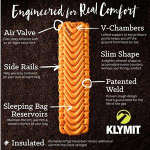 Nafukovací karimatka Klymit Insulated V Ultralite™ SL Oranžová, Klymit