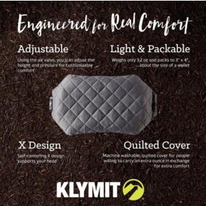 Nafukovací polštář Klymit Luxe Pillow šedý, Klymit