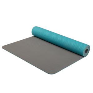Podložka na jogu Yoga Mat dvouvrstvá materiál TPE tyrkys/šedá, Yate
