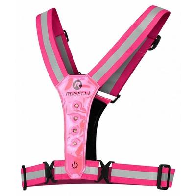 Bezpečnostní vesta s LED diodami Rogelli reflexní růžová ROG351114, Rogelli