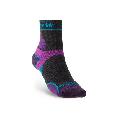Ponožky Bridgedale TRAIL RUN LW T2 MS 3/4 CREW WOMEN'S Charcoal/Purple/260, bridgedale