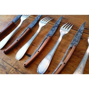 Deejo sada 6 steakových nožů, titanový povrch čepele, olivové dřevo, design 'Toile de Jouy' 2FB011, Deejo