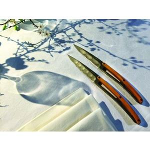 Deejo sada 6 steakových nožů, titanový povrch čepele, olivové dřevo, design 'Art Déco' 2FB012, Deejo