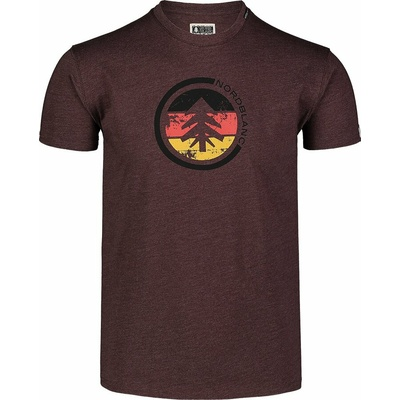 Pánské bavlněné triko Nordblanc TRICOLOR hnědé NBSMT7397_RUH, Nordblanc