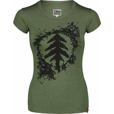 Dámské bavlněné tričko NORDBLANC Flock zelená NBSLT7401_ZSA