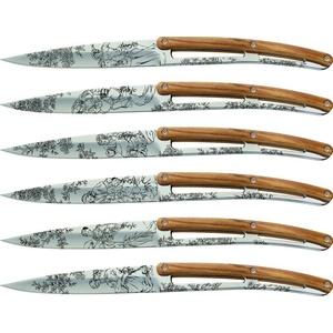 Deejo sada 6 stealpvácj nožů, lesklý povrch, olivové dřevo, design 'Toile de Jouy' 2AB011, Deejo