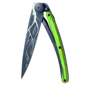 Nůž Deejo 1GB147 Black tattoo 37g, green beech, Tree, Deejo