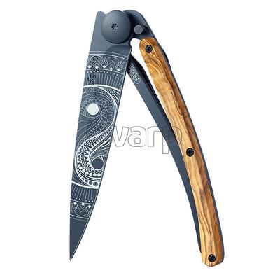 Kapesní nůž Deejo 1GB149 Tattoo black 37g, olivewood Yin & Yang