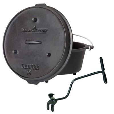 Univerzální litinový hrnec Camp Chef Deluxe Dutch Oven 35 cm s poklicí a zvedákem., Camp Chef