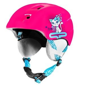 Dětská lyžařská přilba Spokey AURORA růžová s kočičkou, Spokey