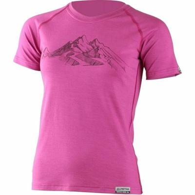 Dámské merino triko Lasting s tiskem Hila růžové, Lasting