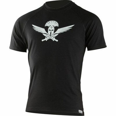 Pánské merino triko Lasting s tiskem Warrior černé, Lasting
