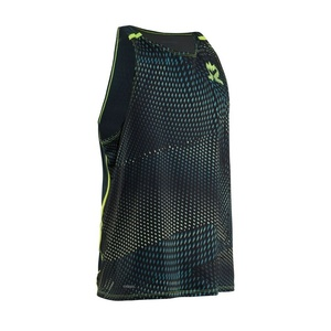 Pánské tílko Salming Breeze Tank Men Sharp Lime AOP/Deep Teal Melange