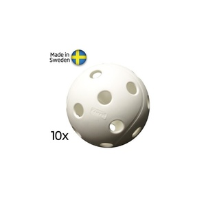 Sada florbalových míčků X3M Campus Ball, 10-pack, White, X3M